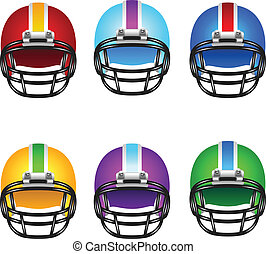 Football helmets with different design and colors