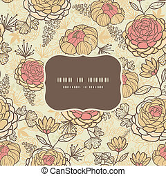 Vintage brown pink flowers frame seamless pattern background...