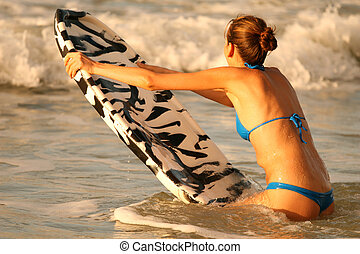 Water sport with boogie board - Bikini Girl with boogie...
