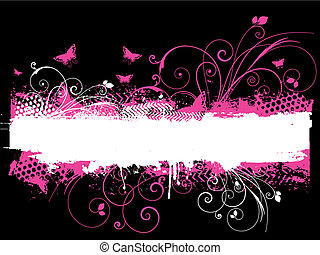 Flowers and butterflies - Floral grunge design with...