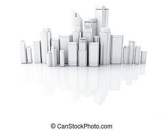 3d render of white city isolated on mirror background