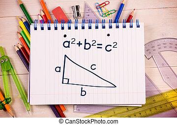 trigonometría, en, bloc,