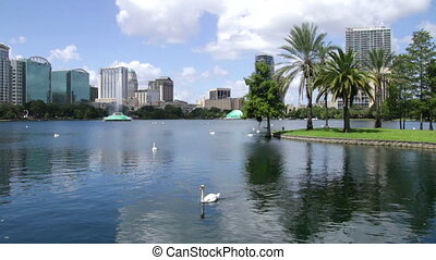 Lake Eola Park Downtown Orlando FL - View of the lake with...