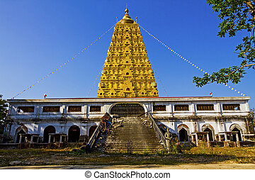 Golden pagoda Bodh Gaya in district Sangkhlaburi,...
