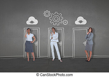 Business people standing - Composite image of business...