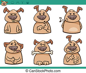 犬, 感情, 漫画, イラスト, セット