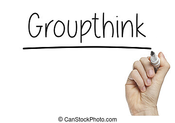 Hand writing groupthink on a white board