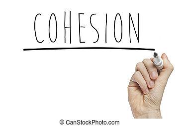 cohesión, mano, escritura