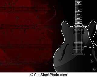 Music Background - Grunge background with the guitar and...