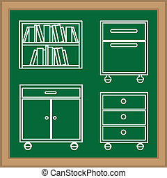 Furniture design over blackboard background, vector...