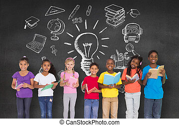 Composite image of elementary pupils reading books -...