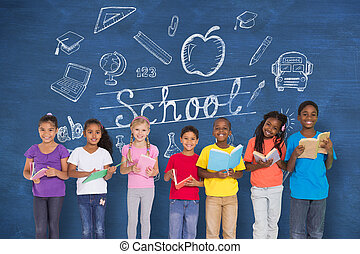 compuesto, imagen, de, elemental, alumnos, lectura, Libros,