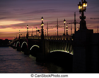 St Petersburg at night - Drawbridge over neva river in St...