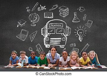 compuesto, imagen, de, lindo, alumnos, sonriente, en,...