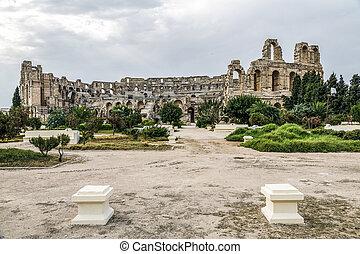 El-Jam, colosseum, Tunisia - Roman amphitheater of El-Jam,...
