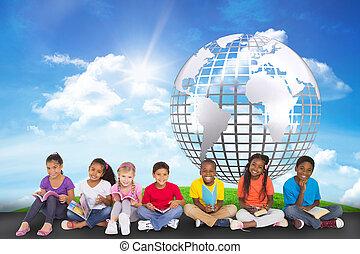 lindo, alumnos, compuesto, imagen, cámara, Libros, sonriente