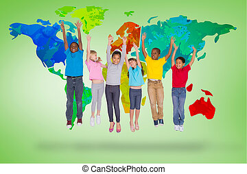 Composite image of elementary pupils jumping - Elementary...