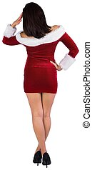 Rear view of sexy santa girl on white background