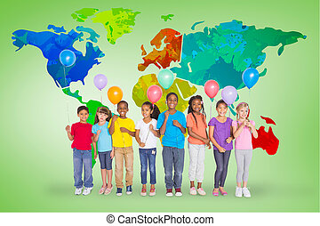 Composite image of elementary pupils holding balloons -...
