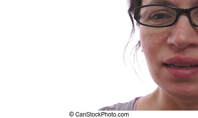 Woman Sneezing Closeup Half Face - Closeup shot with a white...