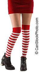 Llevando, niña,  santa, calcetines,  Stripey