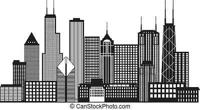 Chicago City Skyline Black and White Illustration - Chicago...