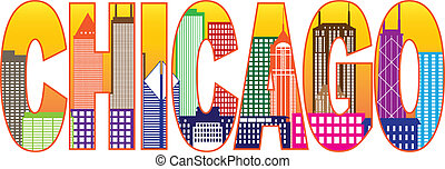 Chicago City Skyline Color Text Illustration - Chicago City...
