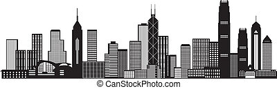 Hong Kong City Skyline Black and White Illustration - Hong...