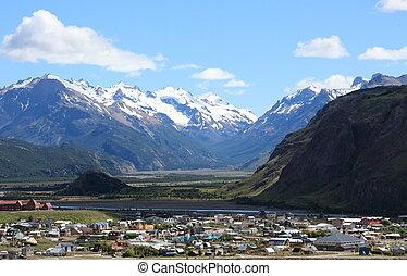 El Chalten, Patagonia, Argentina - A view over El Chalten, a...