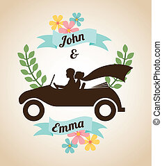 wedding design over beige background vector illustration