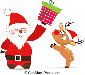 Santa claus and deer, gift greeting card