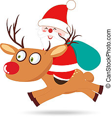 Santa Claus and Deer Cartoon