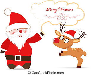 Santa claus and deer greeting card