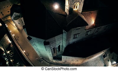 Dubrovnik Dominican monastery tower by night - Aerial view...