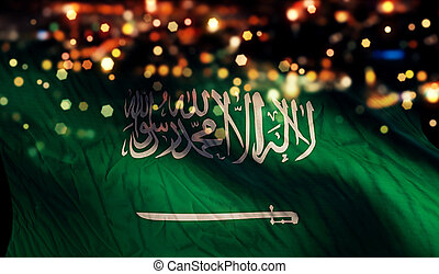 Saudi Arabia National Flag Light Night Bokeh Abstract...