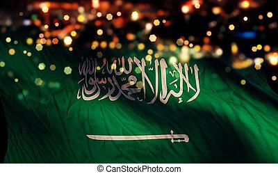 Saudi Arabia National Flag Light Night Bokeh Abstract...