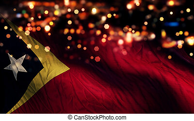 Timor Leste National Flag Light Night Bokeh Abstract...