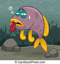 Fish - vector illustration of Cartoon fish sick