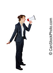 Angry businesswoman shouting through megaphone on white...