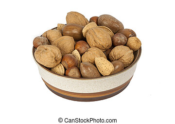 Bowl Of Nuts - A Bowl Of A Variety Of Nuts Isolated On A...