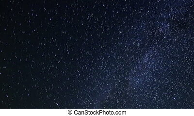 Starry sky over the reservoir in Kremenchuk. Mountain...