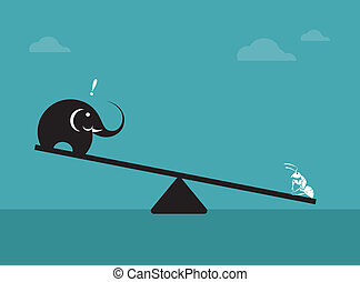 Vector image of an elephant and ant Weighing concept