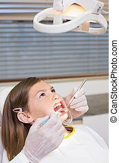 Dentist using mouth retractor on little girl at the dental...
