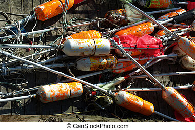 Lobster bouys - lobster bouys along the dock in Portland,...