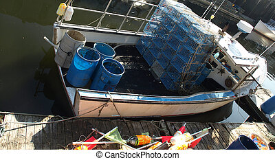 Lobster boat - A working lobster boat along the dock in...