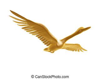 wild goose - golden wild goose flight isolated on white...