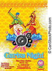 Garba night Poster - illustration of people dancing on disc...