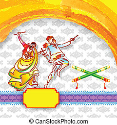 Dandiya Night Poster - illustration of couple playing garba...