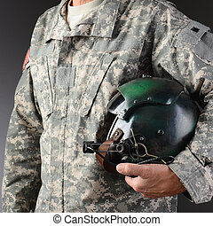 Airman With Flight Helmet - Closeup of an American Airman in...