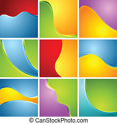 Abstract bright wavy backgrounds set - Abstract bright wavy...